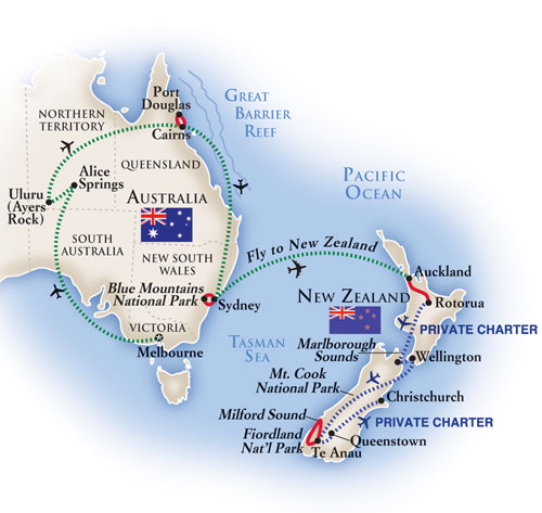 Australia and New Zealand tour map
