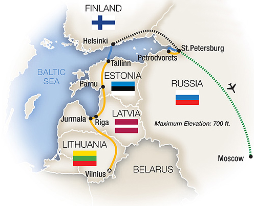 Russia and Baltic Treasures Tour Map