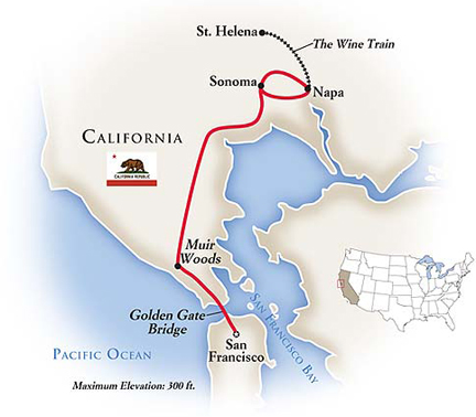 California USA Wine Tour Map
