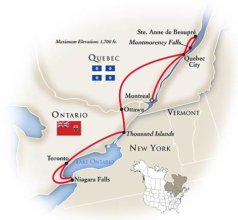 Eastern Canada Tour Map