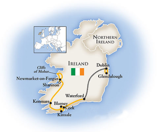 Ireland 7 Day Tour Map