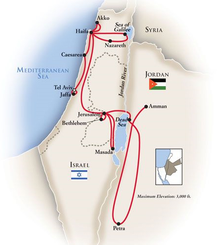 Israel Jordan Tour Map