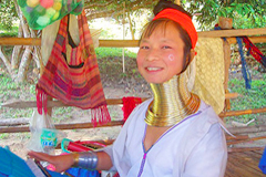 Thailand Karen Hill tribe Woman neck rings Tak
