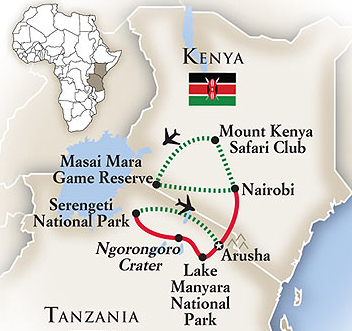 Kenya Tanzania Safari Tour Map