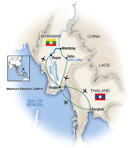 Myanmar Tour Map