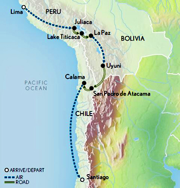 Bolivia Chile Peru tour Map