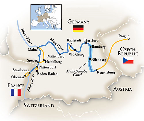 River Cruise Tour Map Germany France Czech Republic