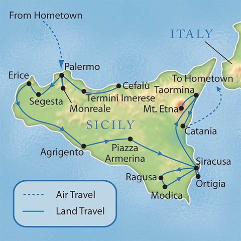 Sicily On Map Of Italy.Sicily Tour Donna Salerno Travel