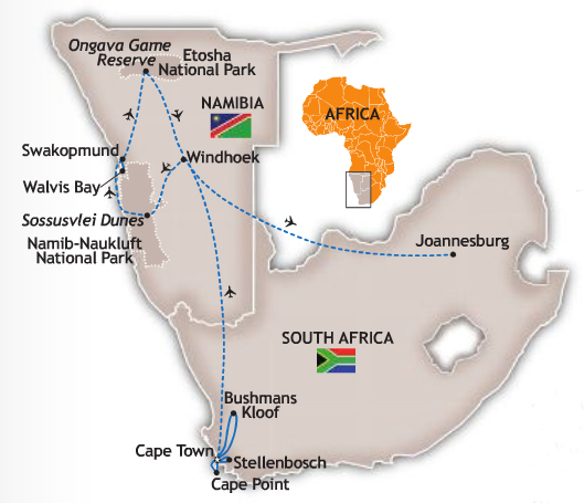 South Africa Namibia Tour Map