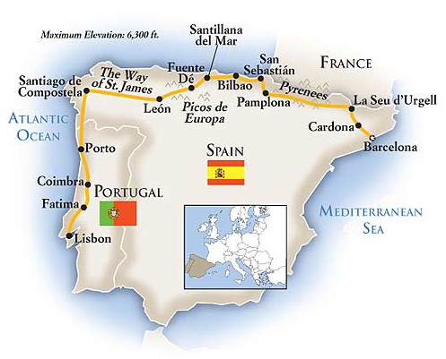 Spain Northern Adventure Tour Map