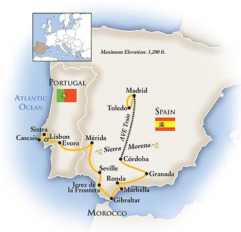 Spain and Portugal Cultural Tour Map