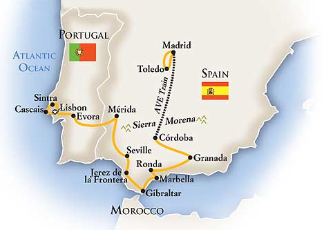 Spain and Portugal Tour Map