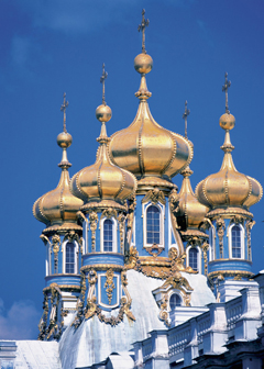 Onion domes of Catherine the Great Palace in St. Petersburg Russia